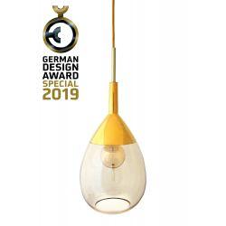 Suspension goutte design en verre soufflé Lute, diamètre 22 cm, Ebb & Flow, Doré fumé, partie supérieure doré et câble doré