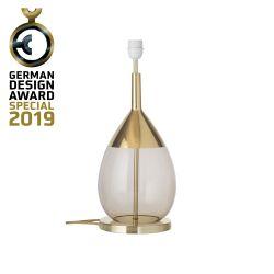 Lampe de chevet goutte en verre soufflé Lute, diamètre 22 cm, Ebb & Flow, Marron glacé, partie supérieure doré et câble doré