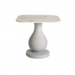 Table Ottocento M, base effet granit plateau carré finition marbre, 80x80cm, Slide