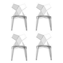Lot de 4 chaises Kimono cristal transparent, Vondom