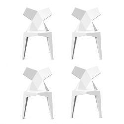 Lot de 4 chaises Kimono blanc opaque, Vondom