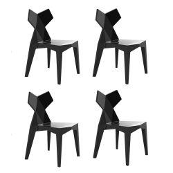 Lot de 4 chaises Kimono noir opaque, Vondom