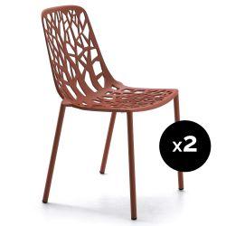 Lot de 2 chaises design Forest, Fast rouge terre cuite