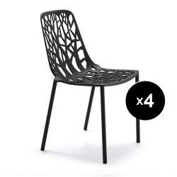 Lot de 4 chaises design Forest, Fast noir
