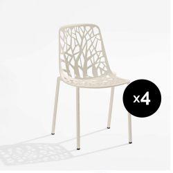 Lot de 4 chaises design Forest, Fast blanc crème