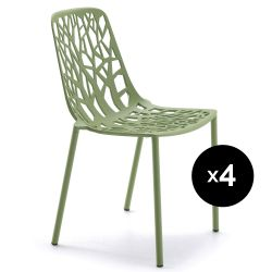 Lot de 4 chaises design Forest, Fast vert thé vert
