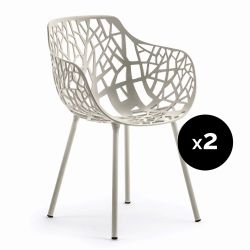 Lot de 2 fauteuils design Forest, Fast gris poudré