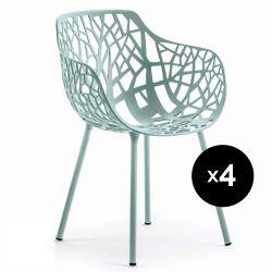 Lot de 4 fauteuils design Forest, Fast bleu pastel