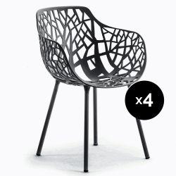 Lot de 4 fauteuils design Forest, Fast bleu nuit