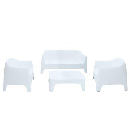 Lot de 1 canapé + 2 fauteuils + 1 table basse Solid, Vondom blanc