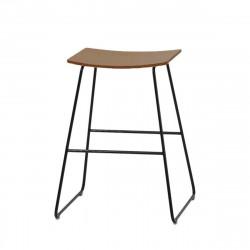 Tabouret sans dossier Tao, hauteur d'assise 62 cm, Inclass, assise bois plaqué noyer naturel, pieds noirs
