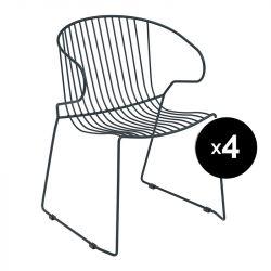 Lot de 4 fauteuils Bolonia, Isimar, gris anthracite