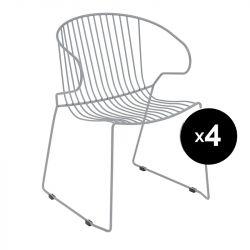 Lot de 4 fauteuils Bolonia, Isimar, gris clair