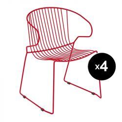 Lot de 4 fauteuils Bolonia, Isimar, rouge tomate