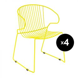 Lot de 4 fauteuils Bolonia, Isimar, jaune