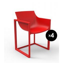 Lot de 4 chaises Wall Street, Vondom rouge