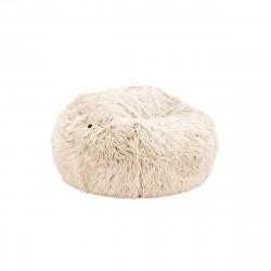 Pouf Vetsak, taille M, fausse fourrure à pois longs beige, D110cm x H70 cm