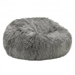 Pouf 2 places Vetsak, taille L, fausse fourrure à poils longs grise, D140cm x H90 cm