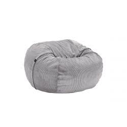 Pouf Vetsak, taille M, velour cotelé gris clair