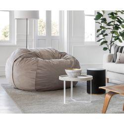 Pouf Vetsak, taille L, velour couleur gris clair