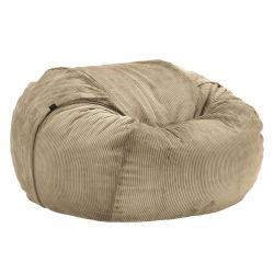 Pouf 2 places Vetsak, taille L, velours cotelé khaki, D140cm x H90 cm