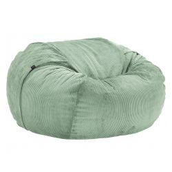 Pouf 2 places Vetsak, taille L, velours cotelé vert pâle, D140cm x H90 cm