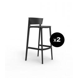 Set de 2 tabourets de bar Africa hauteur d'assise 74,5 cm, Vondom noir