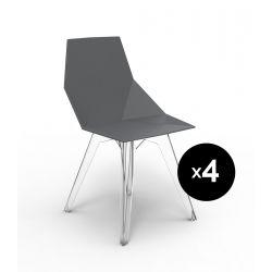 Lot de 4 chaises Faz, Vondom noir