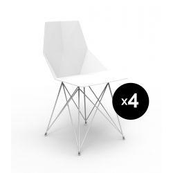 Lot de 4 chaises Faz inox, Vondom blanc Sans accoudoirs