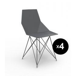 Lot de 4 chaises Faz inox, Vondom noir Sans accoudoirs