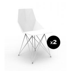 Lot de 2 chaises Faz inox, Vondom blanc Sans accoudoirs