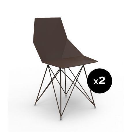 Lot de 2 chaises Faz inox, Vondom bronze Sans accoudoirs