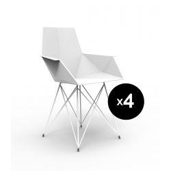 Lot de 4 chaises Faz inox, Vondom blanc Avec accoudoirs