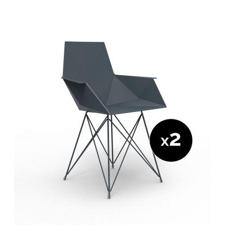 Lot de 2 chaises Faz inox, Vondom noir Avec accoudoirs