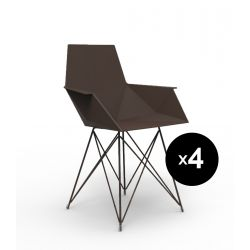 Lot de 4 chaises Faz inox, Vondom bronze Avec accoudoirs