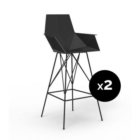 Lot 2 tabourets haut Faz, hauteur d'assise 75cm, Vondom noir Avec accoudoirs