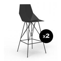 Lot 2 tabourets haut Faz 111 cm, hauteur d\'assise 75 cm, Vondom noir Sans accoudoirs