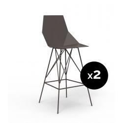 Lot 2 tabourets haut Faz 111 cm, hauteur d'assise 75 cm, Vondom bronze Sans accoudoirs