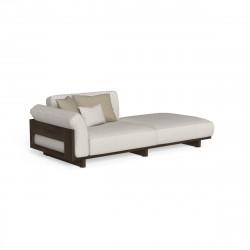 Canapé modulaire angle à droite Argo, Talenti bois foncé & beige