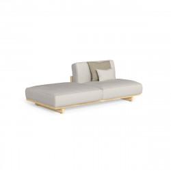 Divan modulaire droit + pouf Argo, Talenti bois clair & beige