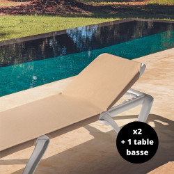 Lot de deux bains de soleil Bali avec une table basse Bali, Myyour sable