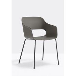 Lot de 4 fauteuils Babila 2735, Pedrali, gris, H79xL53,5xl54