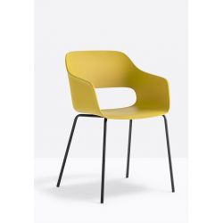 Lot de 4 fauteuils Babila 2735, Pedrali, jaune, H79xL53,5xl54