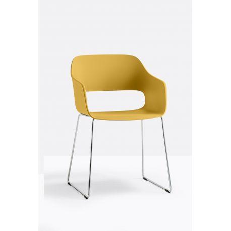 Lot de 4 fauteuils Babila 2745, jaune, pieds acier chromé, Pedrali