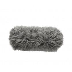 Coussin Noodle pillow 42 x 16 cm, pour canapé Vetsak, fausse fourrure à poils longs gris