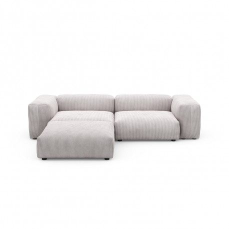 Canapé d'angle Vetsak, velours côtelé couleur platinium