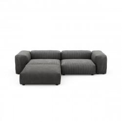 Canapé d\'angle Vetsak, velours côtelé couleur gris foncé L.231 x H.60 x P.115,5 cm