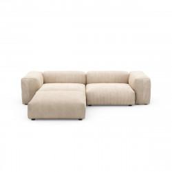Canapé d\'angle Vetsak, velours côtelé couleur sable L.231 x H.60 x P.115,5 cm