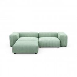 Canapé d\'angle Vetsak, velours côtelé couleur vert pâle L.231 x H.60 x P.115,5 cm