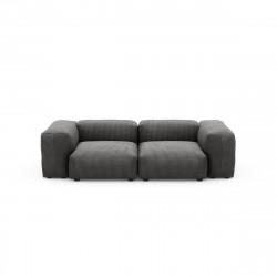 Canapé deux places avec accoudoirs Vetsak, velours côtelé couleur gris foncé